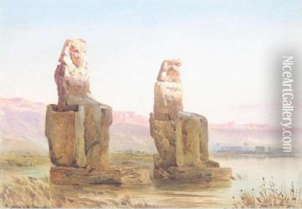 The Colossi Of The Plain Of Thebes Oil Painting - Henry Andrew Harper