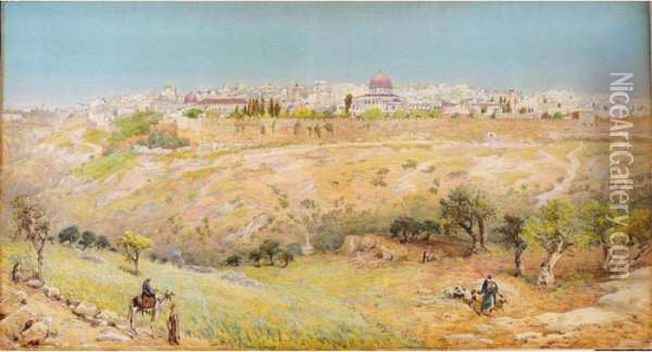 Jerusalem From The Mount Of Olives Oil Painting - Henry Andrew Harper