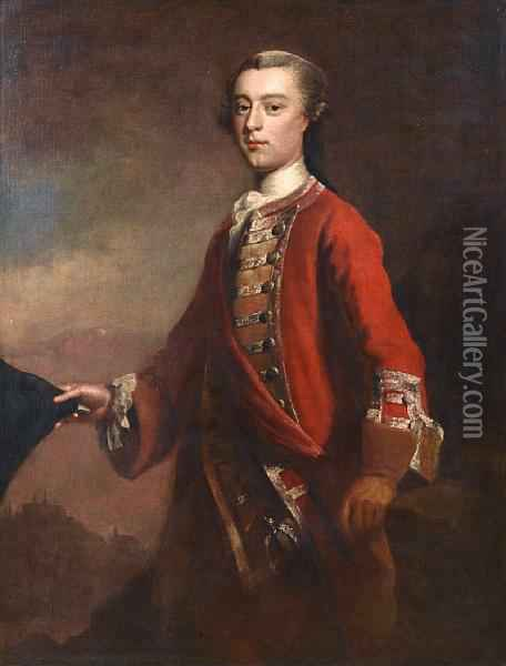 Portrait Of General James Wolfe  Standing In Alandscape, The Plains Of Abraham At Quebec Behind Him Oil Painting - Joseph Highmore