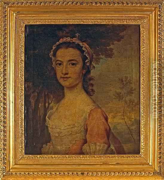 Portrait Of Young Woman, Thought To Be Miss Shirley Oil Painting - Joseph Highmore