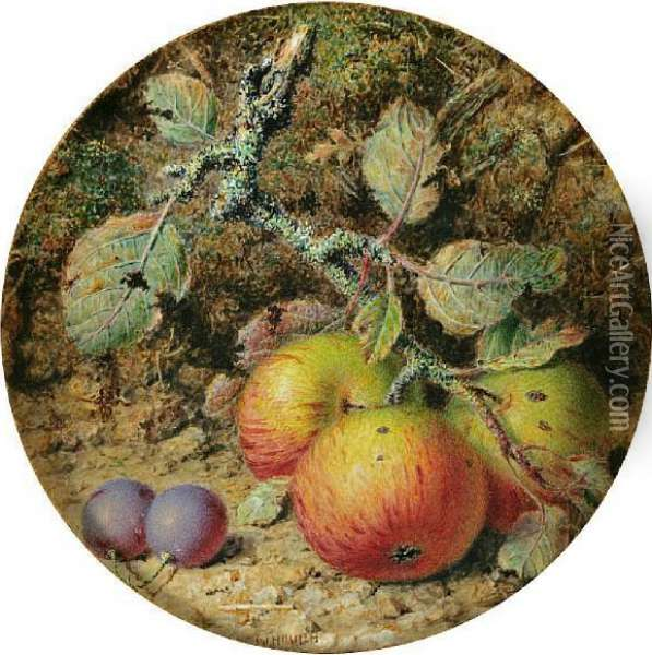 A Still Life With Apples Oil Painting - William B. Hough