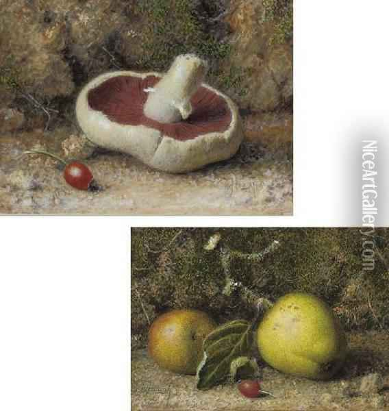 Apples And A Rosehip On A Mossy Bank; And A Mushroom And Rosehip Oil Painting - William B. Hough