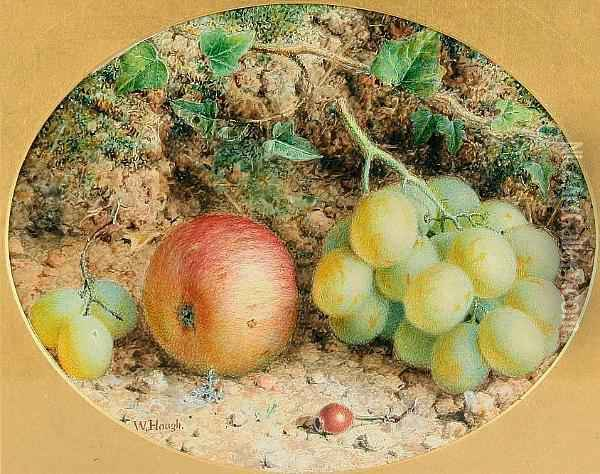 Still Life Of Grapes And Apple, Together With Another Similar, A Pair, Ovals Oil Painting - William B. Hough
