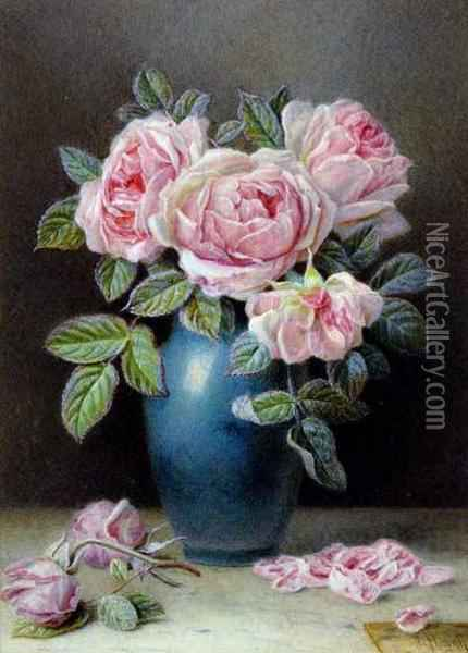 Still Life Study Of Roses Oil Painting - William B. Hough