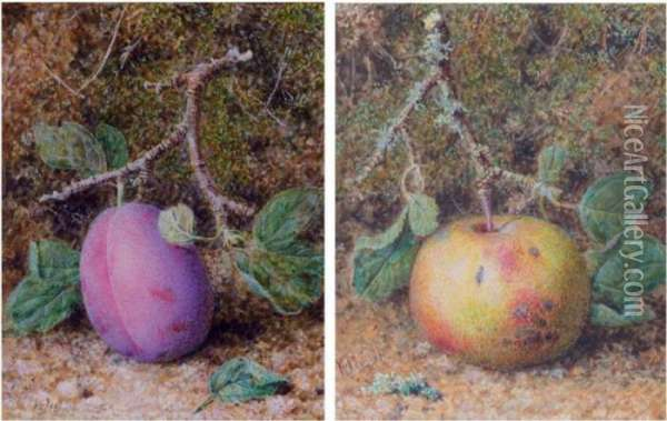 Still Life Of A Plum; Still Life Of An Apple Oil Painting - William B. Hough