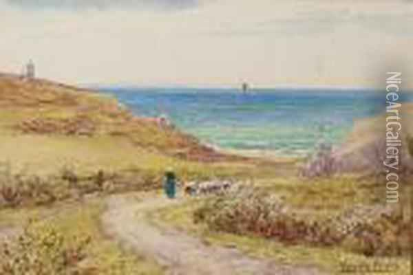 View Of The South Coast; A Thatched Cottage Oil Painting - Henry John Yeend King