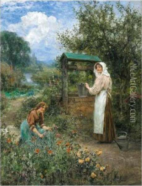 The Days At The Well Oil Painting - Henry John Yeend King