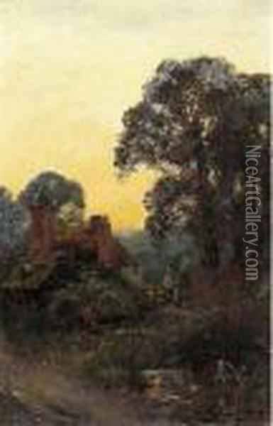 Figures By A Cottage At Sunset Oil Painting - Henry John Yeend King