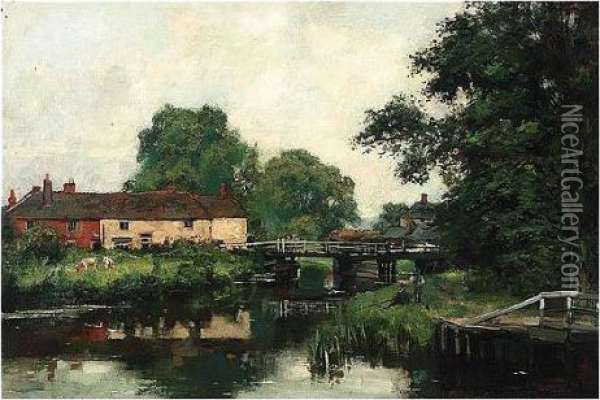 Woolhampton On The Kennet Oil Painting - Henry John Yeend King