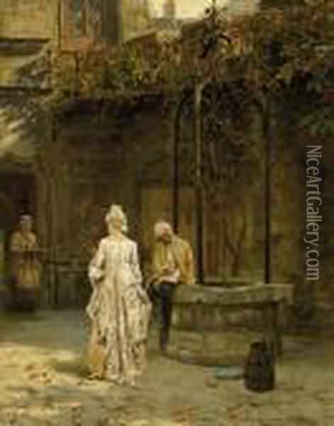 Young Lovers Interrupted Oil Painting - Henry John Yeend King