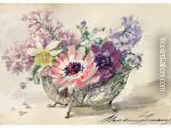 < Anemones A Lacorbeilles Oil Painting - Madeleine Jeanne Lemaire