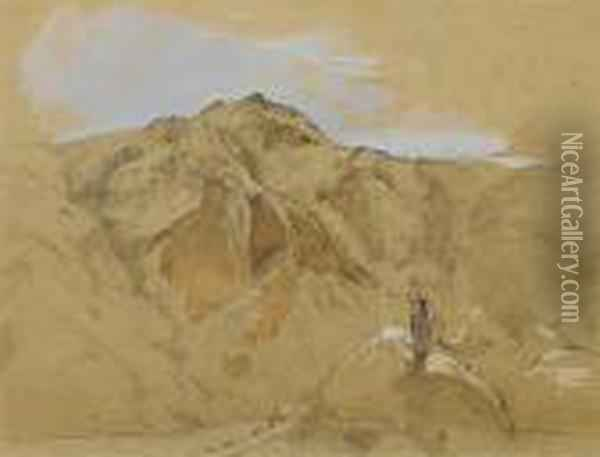 St. Catherine's Mount From Gebel Musa (mount Sinai) Oil Painting - John Frederick Lewis