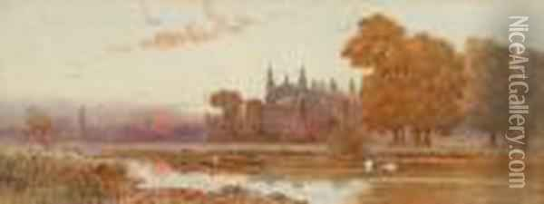 'windsor Castle From The Thames' And 'eton Chapel From The Thames' Oil Painting - Walker Stuart Lloyd