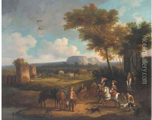 A broad landscape with a hawking party Oil Painting - Carel van Falens or Valens