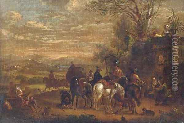 A landscape with a hawking party halted by a fountain Oil Painting - Carel van Falens or Valens