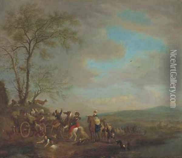 A hawking party disputing with travellers Oil Painting - Carel van Falens or Valens