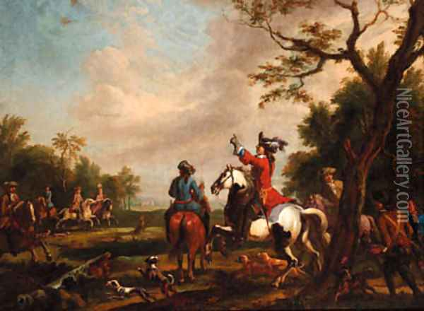 A hawking party in a landscape Oil Painting - Carel van Falens or Valens
