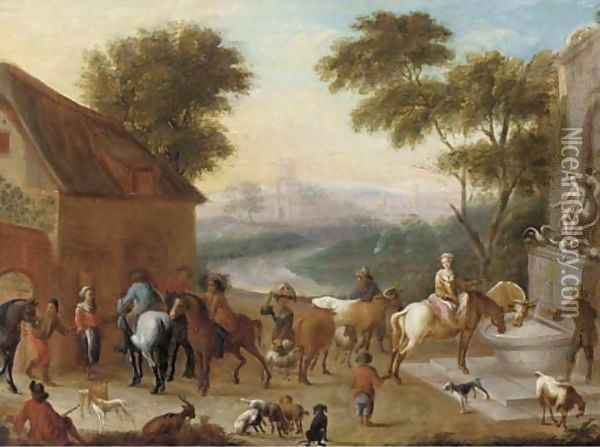 A hunting party halted before an inn Oil Painting - Carel van Falens or Valens