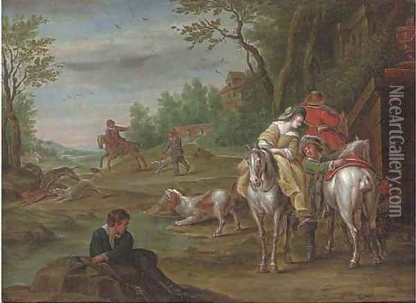 A wooded river landscape with a hunting party on a track Oil Painting - Carel van Falens or Valens