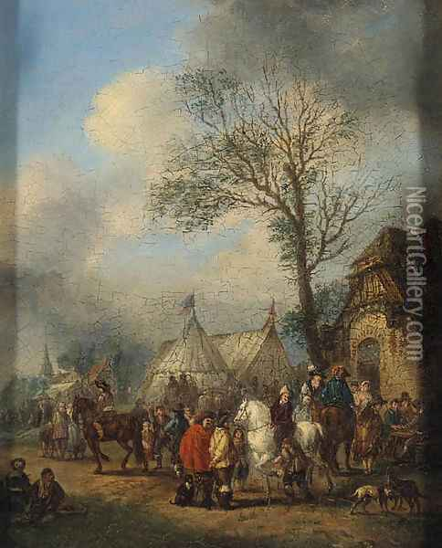 An elegant Hunting Party about to Depart; and Horsemen and other Figures before an Inn Oil Painting - Carel van Falens or Valens