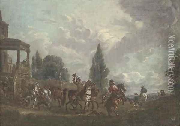 A hunting party setting out from a country estate Oil Painting - Carel van Falens or Valens