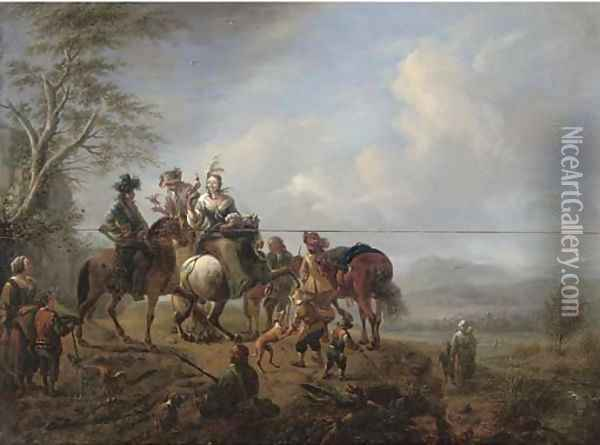 A landscape with a hawking party at rest on a track Oil Painting - Carel van Falens or Valens