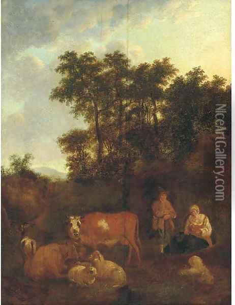 A pastoral landscape with a shepherd at rest with cattle and sheep Oil Painting - Adriaen Van De Velde