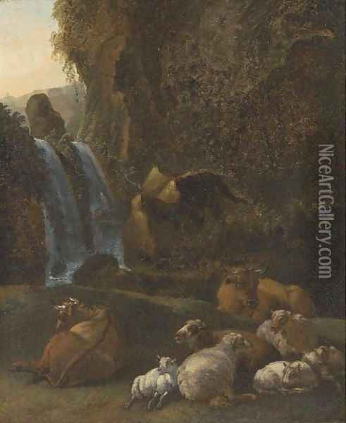 A rocky river landscape with sheep and cattle Oil Painting - Adriaen Van De Velde
