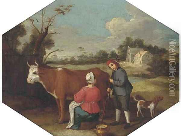 A milkmaid milking a cow with a farmhand in a landscape Oil Painting - Adriaen Van De Velde