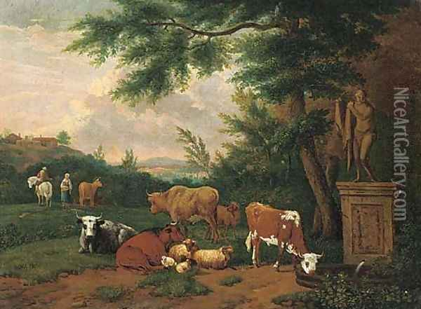 A wooded landscape with cattle and sheep resting by a fountain Oil Painting - Adriaen Van De Velde