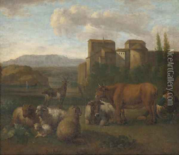 A landscape with a shepherd and his flock near a town Oil Painting - Adriaen Van De Velde
