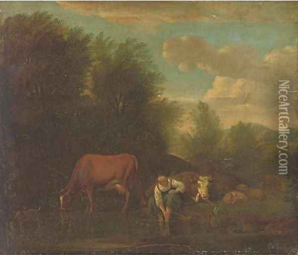 A landscape with a woman bathing at a river with cattle Oil Painting - Adriaen Van De Velde