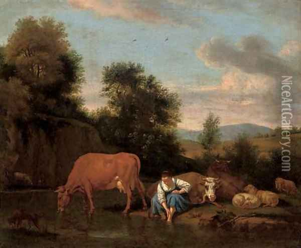 A wooded river landscape with a shepherdess washing her feet, cattle beyond Oil Painting - Adriaen Van De Velde