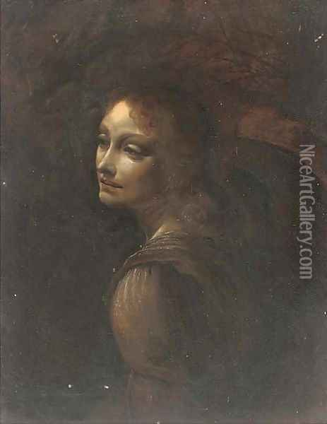 Head of an angel Oil Painting - Leonardo Da Vinci