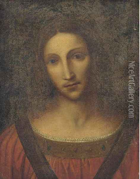 Head of a female Saint Oil Painting - Leonardo Da Vinci