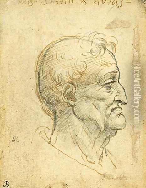 The head of an old man in profile to the right Oil Painting - Leonardo Da Vinci