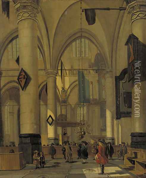 A view in a Gothic Church with elegant townsfolk Oil Painting - Hendrick Van Vliet
