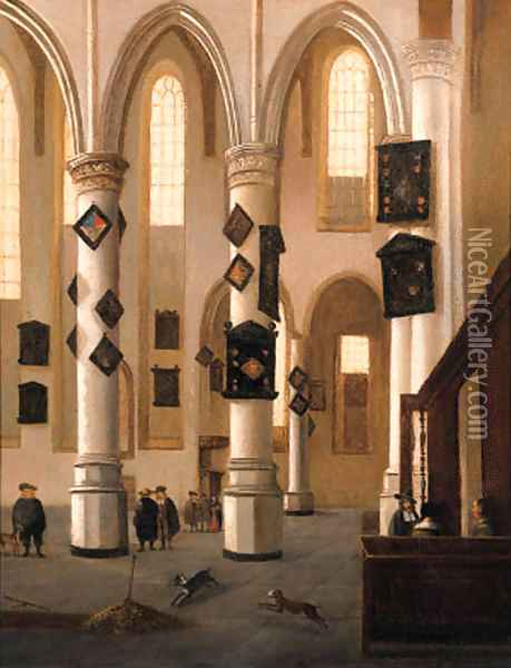 A view in the Oude Kerk, Delft, looking east from the Northern aisle, with townsfolk near an open grave Oil Painting - Hendrick Van Vliet