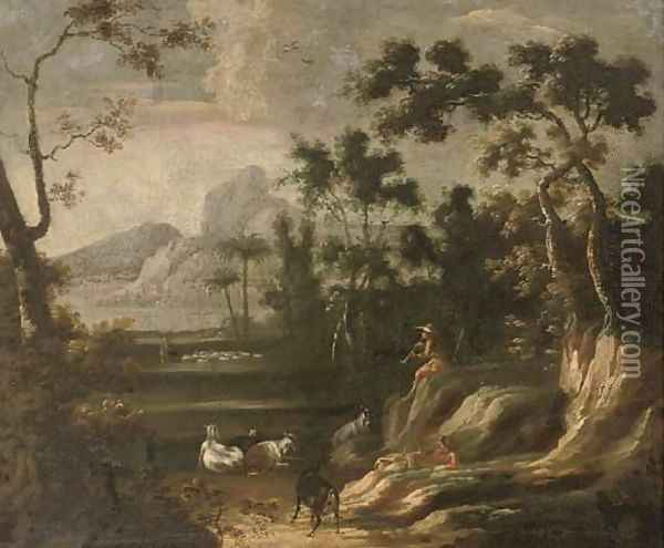 A wooded landscape with herdsmen, mountains beyond Oil Painting - Lodewijk De Vadder