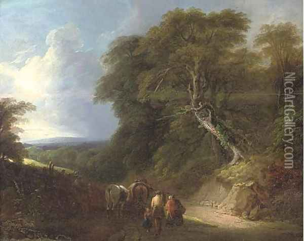 A wooded landscape with travellers on a track Oil Painting - Lodewijk De Vadder