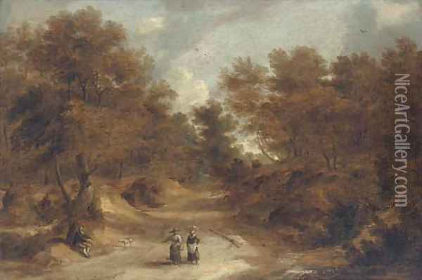 A wooded landscape with peasants on a path Oil Painting - Lodewijk De Vadder