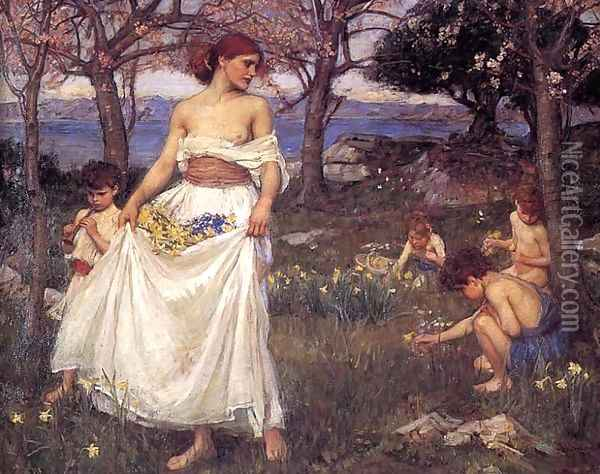 A Song of Springtime 1913 Oil Painting - John William Waterhouse