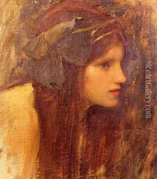 A Naiad, study 1893 Oil Painting - John William Waterhouse