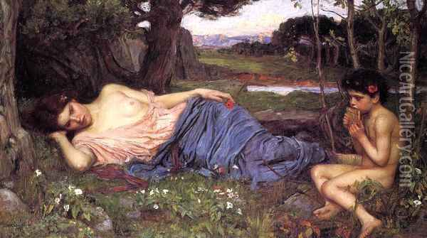 Listening to My Sweet Pipings 1911 Oil Painting - John William Waterhouse