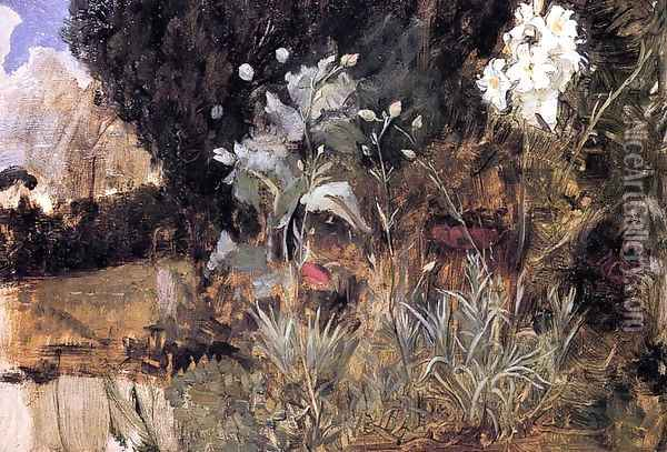 Flower Sketch for 'The Enchanted Garden Oil Painting - John William Waterhouse
