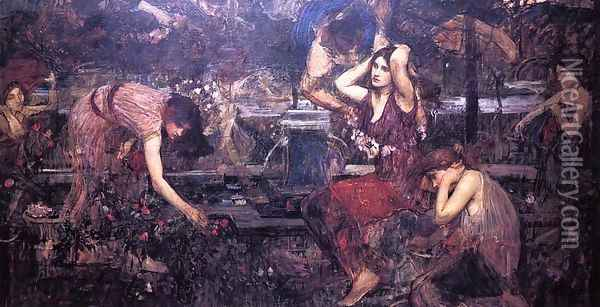 Sketch for 'Flora and the Zephyrs' Oil Painting - John William Waterhouse