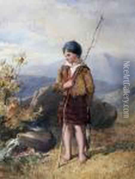 The Young Angler Oil Painting - John Henry Mole