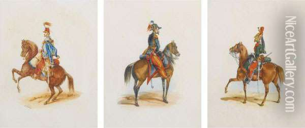 Mounted French Military Officers: 30 Works Oil Painting - Orlando Norie