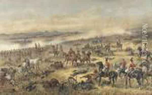 Battle Of Waterloo Oil Painting - Orlando Norie