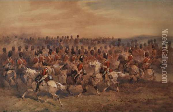 2nd Dragoons, Royal Scots Greys: Dawn On Chobham Common Oil Painting - Orlando Norie